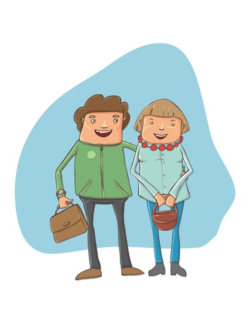 À young couple on the street Stock Vector - 17431091