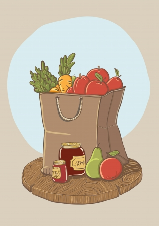 shopping bag with fruits and vegetables - vector illustration Vector