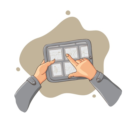 surfing the net: tablet pc in hands - vector illustration