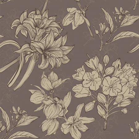 hand colored: hand drawn flowers seamless pattern