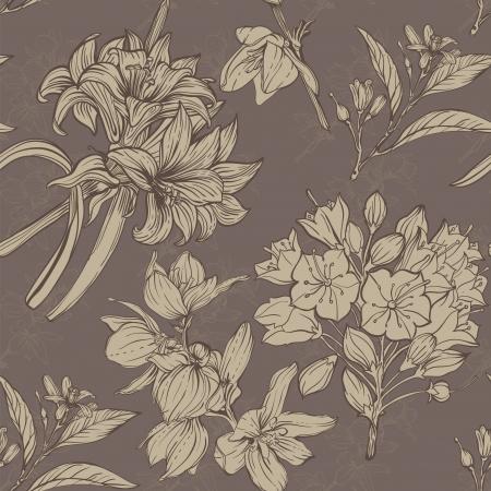 flower fields: hand drawn flowers seamless pattern
