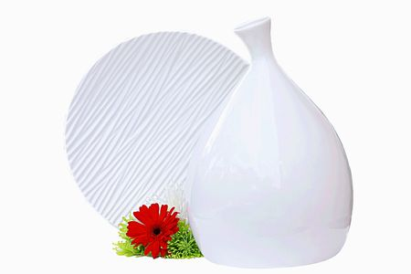 plainness: Vases with flowers on the white background