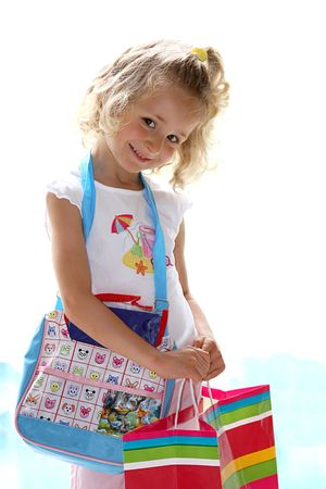 Girl with shopping bag Imagens
