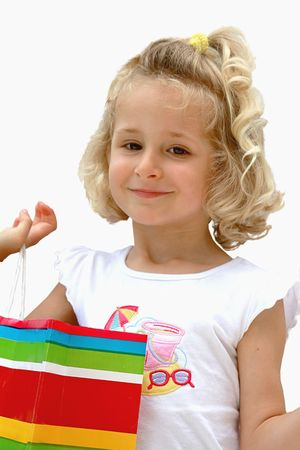 Girl after shopping on the white Stock Photo
