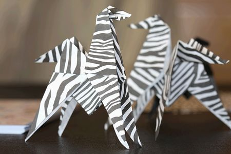 Two zebra origami Stock Photo