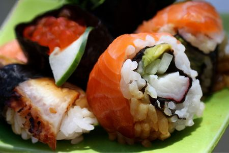 Sushi rolls with salmon,red cavia and eel  Stock Photo