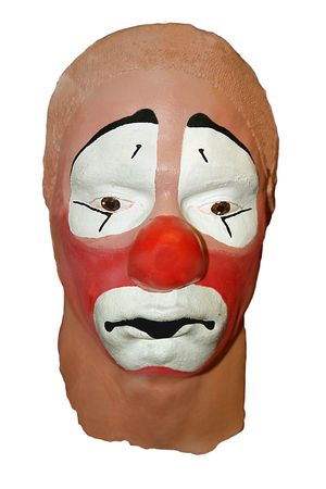Sad clay clown mask photo