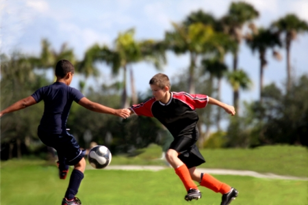 Fighting for soccer ball  Banque d'images