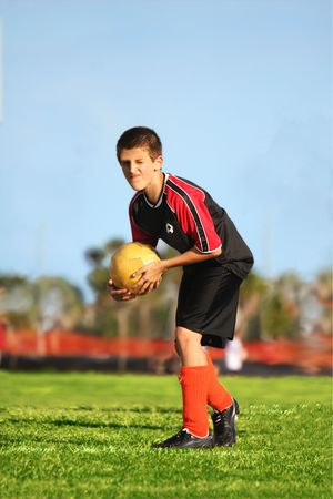 Soccer player ready to kick