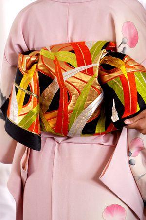 Colorfur kimono dress and obi fabric detail Stock Photo - 4561748