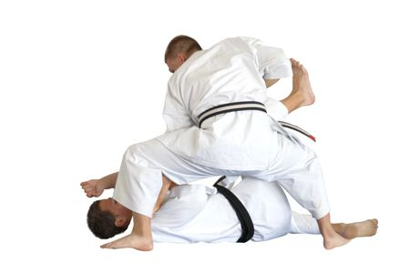 Karate fight- throw on a floor Stock Photo