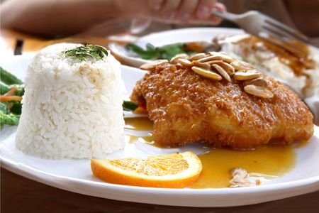 Japanese cousine - almond fish with  rice photo