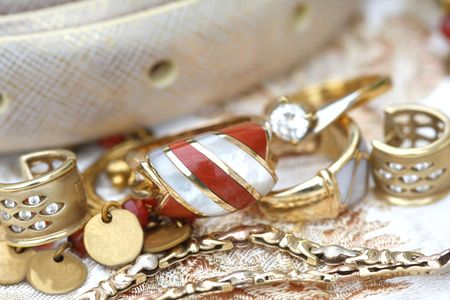 Set of golden jewerly Stock Photo