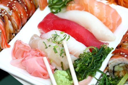 Tray with assorted sushi apetaizer Stock Photo - 5195232