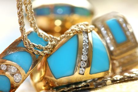 Turquoise and diamonds jewelry