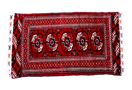 Hand knoted antic rug from Turkmenistan Imagens