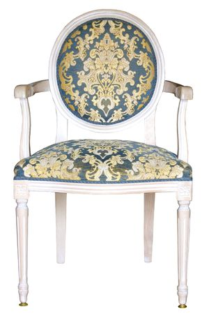 joe louis: Antique italian arm-chair upholstered  with blue-gold damask fabric Stock Photo