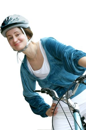 Young woman in helmet biking isolated Stock Photo