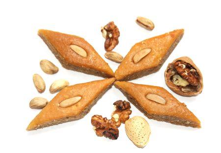 The ramadan sweet  baklava and nuts  photo