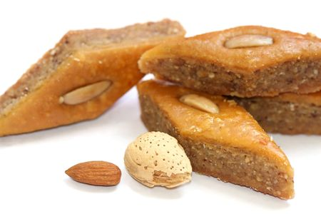The ramadan sweet baklava and nuts Imagens