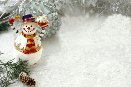 Happy Snowman with cake on  snow background Stock Photo - 6132629