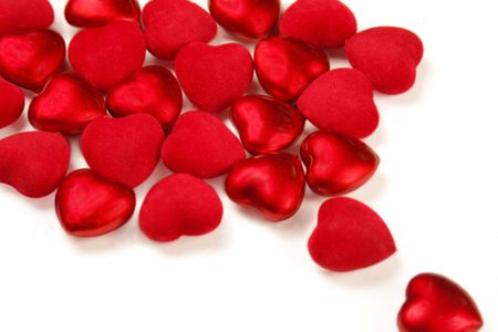 Red  hearts on white Stock Photo