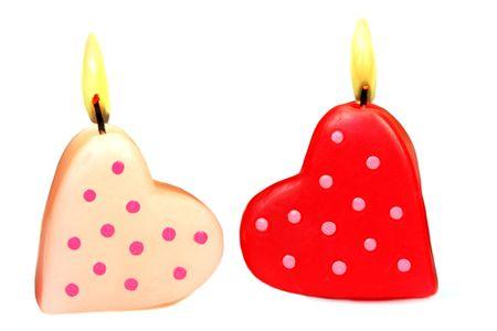 Romantic heart shaped candles set