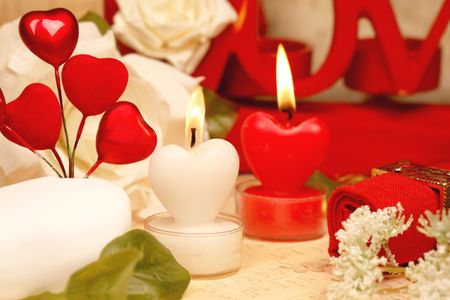 Valentines - romantic heart shaped candles  set Stock Photo