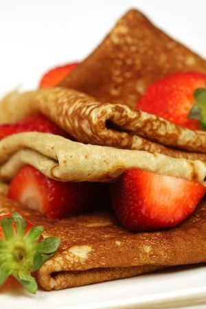 Stack of panckes with strawberries
