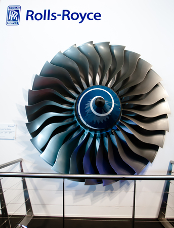Changi, Singapore - Feb 6,2010 : Rolls-Royce engine display in Singapore Air Show 2010