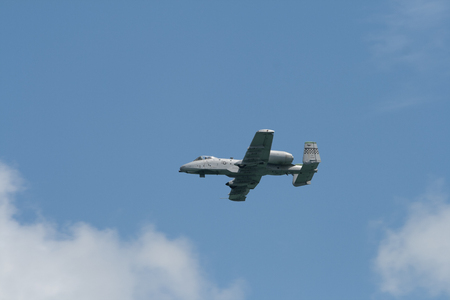 Changi, Singapore - Feb 6,2010 : United States Air Force A-10 Thunderbolt II fighter performs in Singapore Air Show 2010