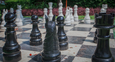 king size: Giant chess game in park