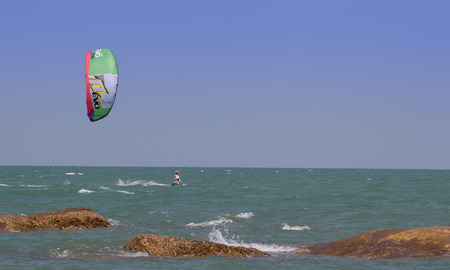 kite surfing: Tourist enjoy surf parachute at Hua-Hin beach Stock Photo