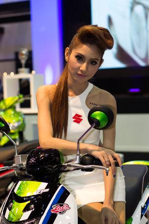 Bangkok, Thailand - March 29, 2013: Unidentified female presenter of Suzuki in Bangkok Motor Show 2013
