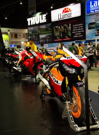repsol honda: Bangkok, Thailand - March 29, 2013: Honda Motorbike new models presented in Bangkok Motor Show 2013 Editorial