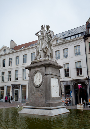 frans: Ghent, Belgium - June 26, 2011: Statue of Jan Frans Willems in Ghent