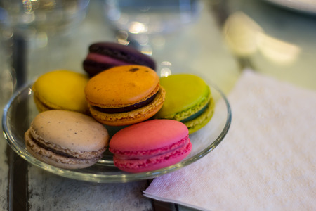 patisserie: Colorful of macarons Stock Photo