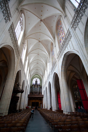 Antwerp, Belgium - June 19, 2011: Internal arches and vaulted ceiling of Cathedral of Our Lady