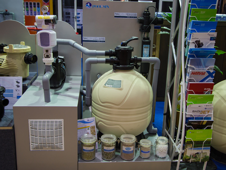 Bangkok, Thailand - November 2, 2017: Swimming pool filteration system display at garden fair Фото со стока - 90286899
