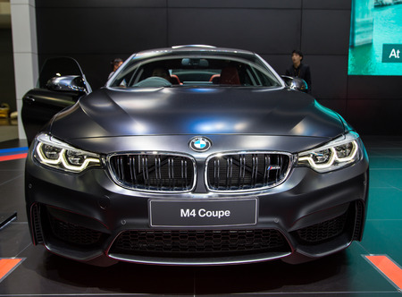 Bangkok, Thailand - December 11, 2017: BMW M4 MPower Matte Black presented in Motor Expo 2017
