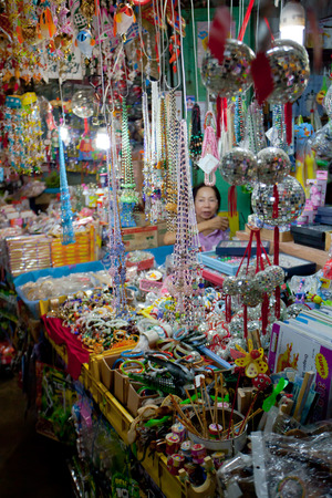 Chachoengsao, Thailand - Aug 7, 2010 : Crystal ball mobiles and beaded mobile selling at souvenir shop