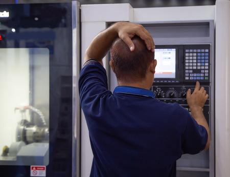 Industrial worker input data programing for CNC lathing machine