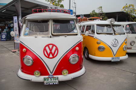 Nonthaburi, Thailand - March 10, 2018: VW van owners gathering in volkswagen club meeting at car park of Robinson department store