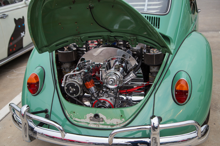 Nonthaburi, Thailand - March 10, 2018: VW owner show engine room of VW beetle 1967 model in volkswagen club meeting at car park of Robinson department store