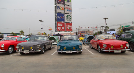 Nonthaburi, Thailand - March 10, 2018: VW Karmann Ghia Type 34 show in volkswagen club meeting at car park of Robinson department store