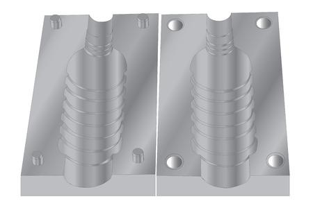 Stampo di plastica bottiglia vaso PET isolato su bianco Vettoriali