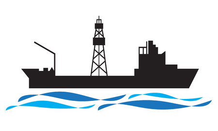 Drilling ship icon oil and gas industry Çizim