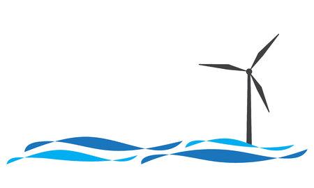 Icona di turbina eolica offshore isolato su bianco