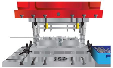 Ilustración de la máquina de prensa hidráulica