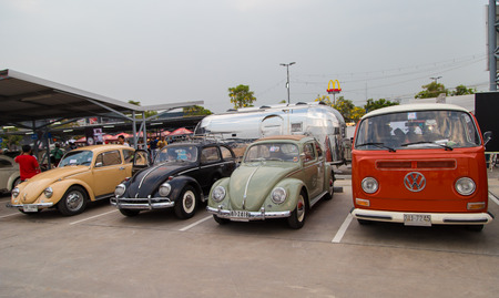 Nonthaburi, Thailand - March 10, 2018: VW owners gathering in volkswagen club meeting at car park of Robinson department store
